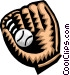 baseball glove Vector Clipart graphic