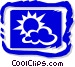 Sun and clouds Vector Clip Art graphic