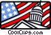 Capitol building and American flag Vector Clipart illustration
