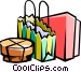 Shopping parcels Vector Clipart picture
