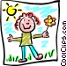 child's drawing Vector Clipart graphic