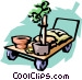 trolley with plants Vector Clipart graphic
