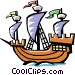 Old fashioned sailing ship Vector Clipart image