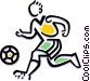 Soccer player dribbling ball Vector Clipart illustration