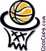 basketball and hoop Vector Clipart image