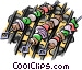 Shish kabobs on the grill Vector Clip Art picture