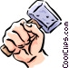 Hand with mallet Vector Clip Art picture