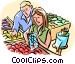 Couple grocery shopping Vector Clipart image