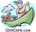 canoeing Vector Clip Art graphic