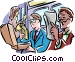 Subway passengers reading Vector Clipart illustration