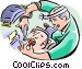 Dentist working on patient Vector Clip Art image