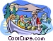 Father and son fishing with Vector Clipart illustration
