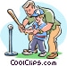 Baseball family activity Vector Clip Art image