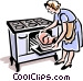 old-fashioned cooking turkey Vector Clipart graphic