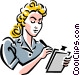 old-fashioned secretary Vector Clipart image
