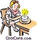 Child blowing out candles on a cake Vector Clipart graphic