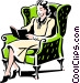 woman reading Vector Clip Art image