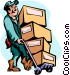 man moving boxes Vector Clip Art picture