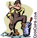 janitor Vector Clip Art graphic