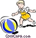 Child playing with ball Vector Clipart picture