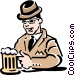 Man having a beer at the pub Vector Clipart graphic