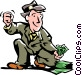 man picking up money Vector Clipart illustration