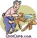 Man sawing wood Vector Clipart picture