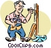 Man at work with hammer and Vector Clipart graphic