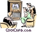 Family watching Television Vector Clipart image