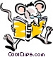 mouse reading Vector Clipart image