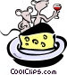 cartoon mice dining on wine Vector Clipart picture