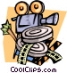 camera and film canisters Vector Clipart picture