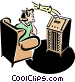50's style radio with teenager listening Vector Clipart illustration