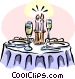 dinner with candlelight and champagne Vector Clipart graphic