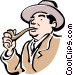 man smoking pipe Vector Clipart graphic