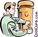 man getting a drink Vector Clipart graphic