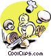 chef bird chopping onions and Vector Clip Art graphic