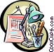 desk stationary Vector Clip Art graphic