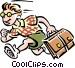 Schoolboy running to school Vector Clip Art graphic