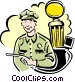Gas station attendant Vector Clip Art graphic