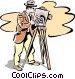 old-fashioned filming Vector Clip Art image