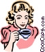 old-fashioned woman with tea Vector Clipart graphic