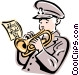 salvation army trumpet player Vector Clip Art graphic