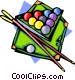 Pool table with ball and cues Vector Clipart illustration