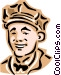 Old-fashioned attendant Vector Clipart picture