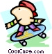 skateboarder - cartoon Vector Clipart illustration