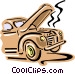 Old fashioned car overheating Vector Clip Art image