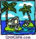 Computers on deserted islands Vector Clip Art graphic