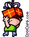 Boy carrying birthday cake Vector Clip Art image