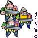three knights - cartoon Vector Clip Art image